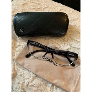 Chanel Dark Blue Eyeglasses with Leather Temples